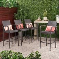 Delfina Outdoor Wicker Barstool (Set of 4) by Christopher Knight Home
