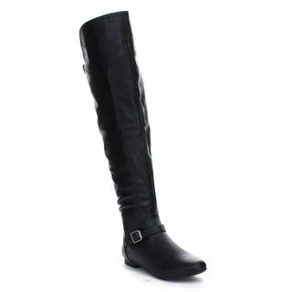 Bamboo Tiara-44 Women's Buckle Strap Accent Side Zipper Knee-high Riding Boots