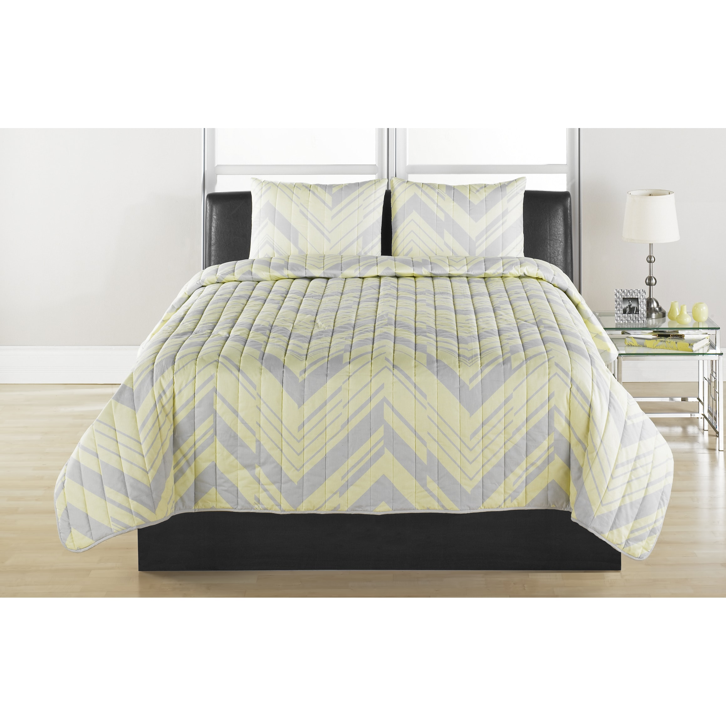 Chevron Quilted Coverlet Set (Full/Queen), Yellow (Cotton...