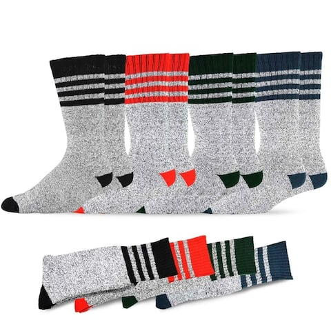 Recycled Cotton Mens and Womens Stripes Thermal Boot Socks (Pack of 4)
