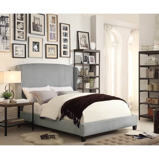 Chavelle Linen Grey Winged Upholstered Queen Platform Bed