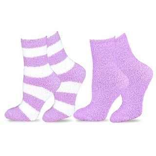 Teehee Cozy Women's Crew Rugby Stripe Lilac Socks (Pack of 2)