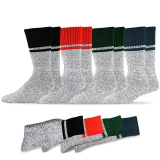 Recycled Cotton Men's and Women's Single Stripe Thermal Boot Socks (Pack of 4)
