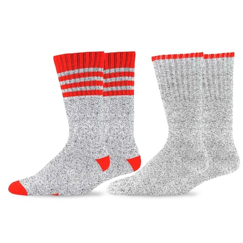 Recycled Cotton Men's & Women's Stripe Thermal Boot Socks 2pack