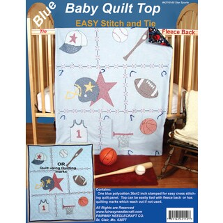 Stamped Baby Quilt Top 36inX42inSports
