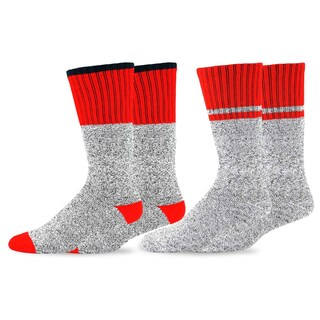 Recycled Cotton Men's and Women's Colorblock Thermal Boot Socks (Pack of 2)