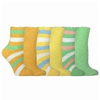 Women's Cozy Crew Socks Green/ Yellow/ Orange Rugby Stripe Socks (Pack of 6)