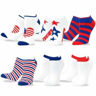 Teehee American Flag Women's I Love Usa No Show Socks (Pack of 6)