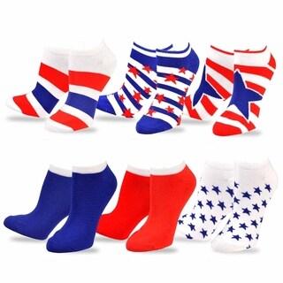 Teehee American Flag Women's Stars and Stripes No Show Socks (Pack of 6)