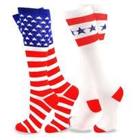 Teehee American Flag Women's Knee High Stars & Stripes Socks 2Pack