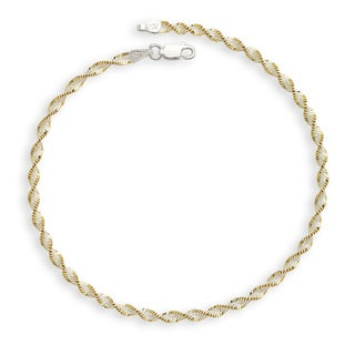 Sterling Silver Two-tone Goldplated 10-inch Rope Anklet