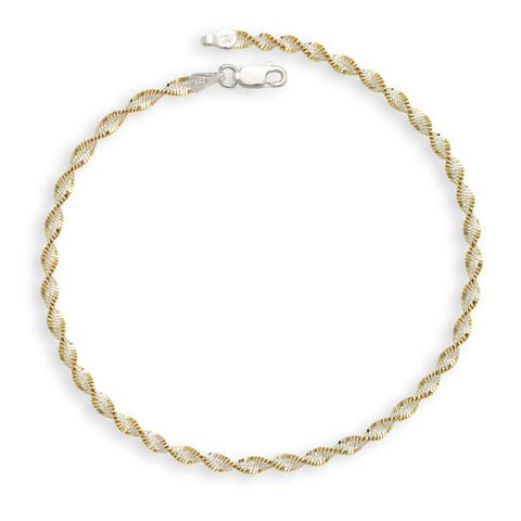 Sterling Silver Two-tone Goldplated 10-inch Rope Anklet - White