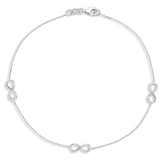 Sterling Silver Infinity Station 10-inch Anklet