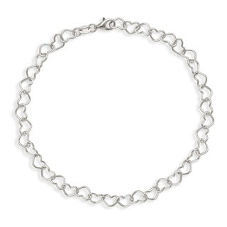 Sterling Silver Open Heart Link 10-inch Anklet