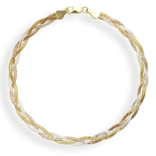 Sterling Silver Multi-colored Goldplated 10-inch Braided Herringbone Anklet