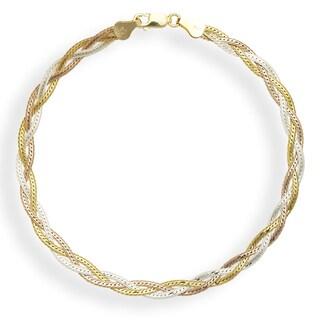Sterling Silver Multi-colored Goldplated 10-inch Braided Herringbone Anklet - Orange