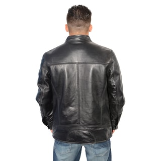 Men's Lambskin Leather Snap Collar Racer Jacket