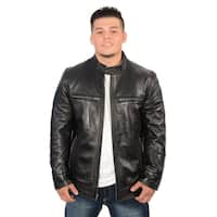 Men's Lambskin Leather Snap Collar Racer Jacket
