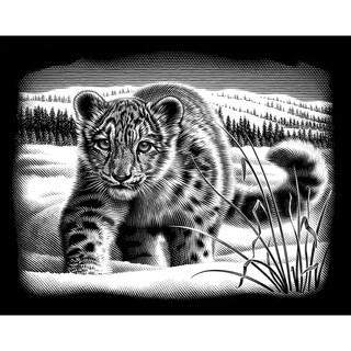 Silver Scraperfoil Kit 8inX10inSnow Leopard