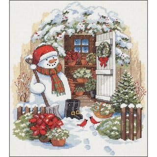 Garden Shed Snowman Counted Cross Stitch Kit12inX14in 14 Count