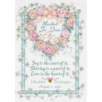 United In Love Wedding Record Counted Cross Stitch Kit10inX14in 18 Count