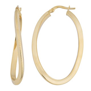 Fremada 18k Yellow Gold High Polish Elongated Hoop Earrings