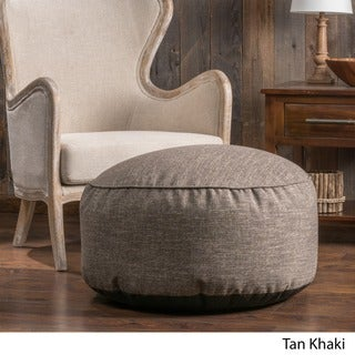 Christopher Knight Home Hendrix Round Fabric Pouf Ottoman