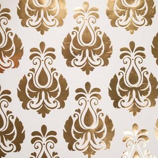 Studio Gold Foiled Gift Wrap 30inX30in 2/PkgDamask