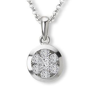 Avanti 14K White Gold 1/2ct TDW Round Cluster Diamond Necklace (G-H, SI2-SI3)
