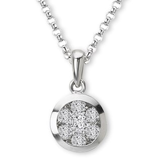 14K White Gold 1/3ct TDW Round Cluster Diamond Necklace (G-H, SI2-SI3)