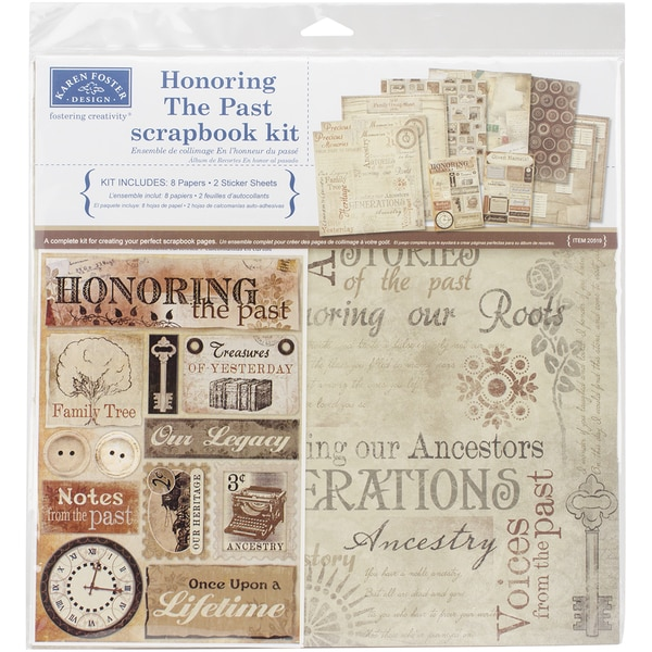 shop karen foster scrapbook page kit 12inx12inhonoring the past