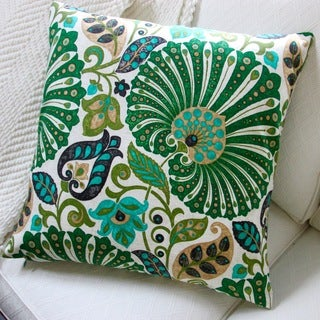 Bankura 20-inch Emerald Green Floral Throw Pillow