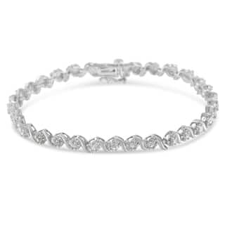 Sterling Silver 1 ct. TDW Rose Cut Diamond Spiral Link Bracelet (I-J, I3)