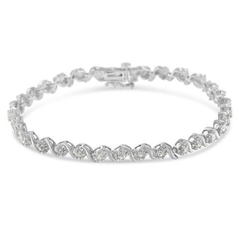 """.925 Sterling Silver 1.0 Cttw Diamond Spiral Wave S-Link 7"""" Tennis Bracelet (I-J, I3)"""