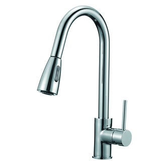 Lead-free Polished Chrome 16-inch High Arch Single-handle Pull-down Sprayer Kitchen Faucet with Soap Dispenser