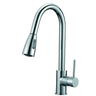 Lead-free Polished Chrome 16-inch High Arch Single-handle Pull-down Sprayer Kitchen Faucet with Soap Dispenser|https://ak1.ostkcdn.com/images/products/10566862/P17644425.jpg?impolicy=medium