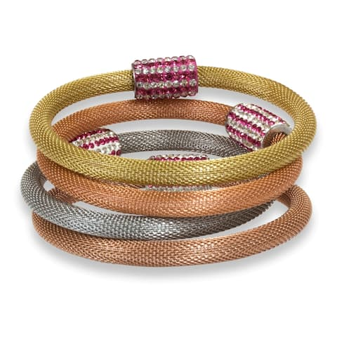 Pearlyta Multicolor Stainless Steel Crystal Clasp Mesh Bracelet - White