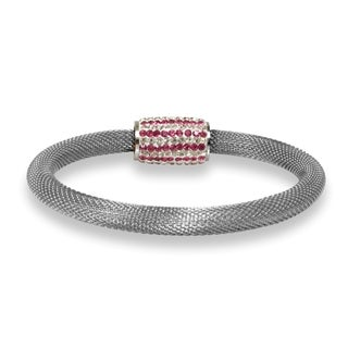 Pearlyta Multicolor Stainless Steel Crystal Clasp Mesh Bracelet