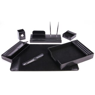 7-Piece Black Leather Desk Set