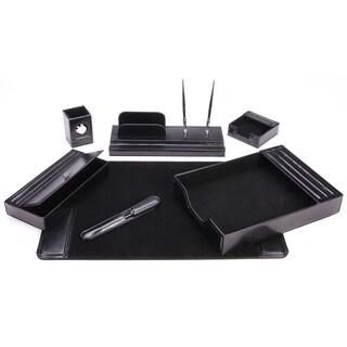 7-Piece Black Leather Desk Set