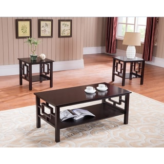 K&B T92 Cherry Cocktail Table and Two End Tables (Set of 3).