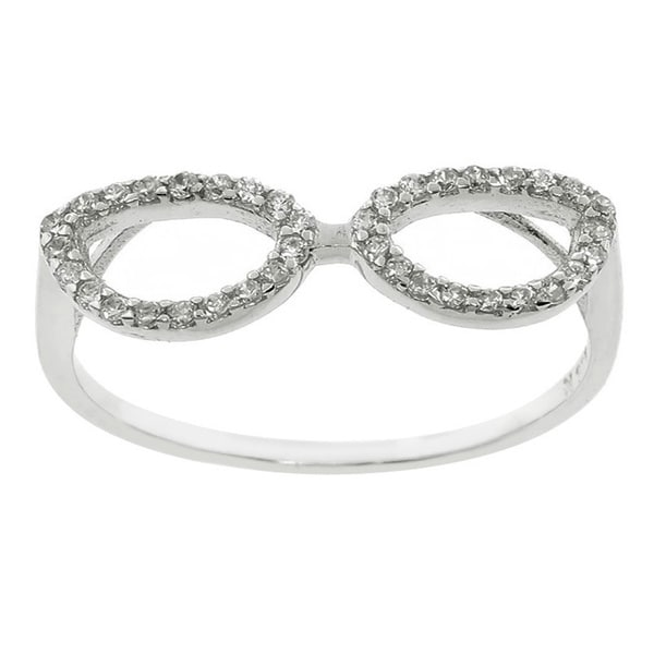 Eternally Haute Sterling Silver Pave Cubic Zirconia Geek Chic Glasses Ring