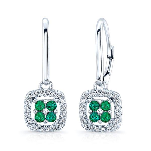 14k White Gold Created Emerald 1 5ct Tdw Diamond Earrings H I Si1