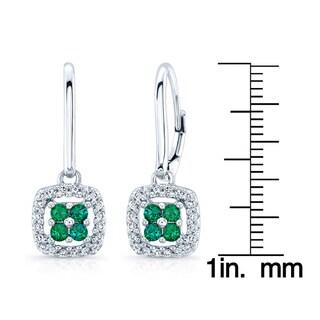 14k White Gold Created Emerald 1/5ct TDW Diamond Earrings (H-I, SI1-SI2)