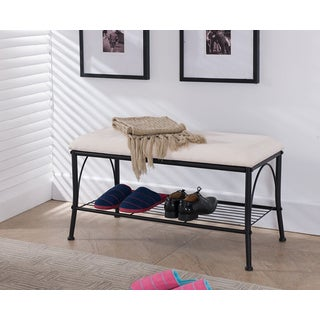 K&B SB-12 Bench with Shoe Rack Storage