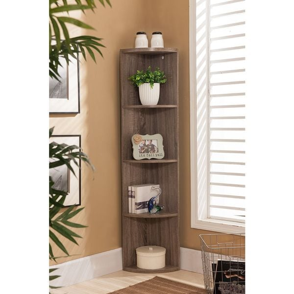 K B Bk19 Grey Wood Corner Bookcase