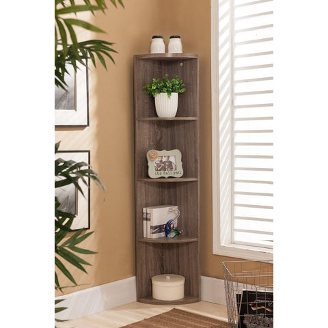 K&B BK19 Grey Wood Corner Bookcase