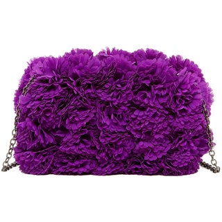 Pink Haley Floral Petal Box Clutch (Option: Purple)