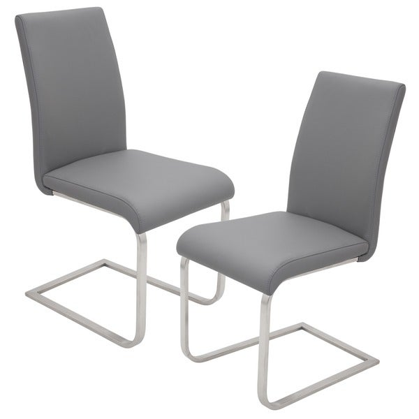 Contemporary Foster Stainless Steel Dining Chairs (Set Of 2)