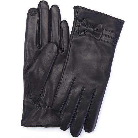 Royce Leather Black Premium Lambskin Leather Cellphone Tablet Touchscreen Women's Large Gloves